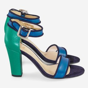 Sandale dama albastru cu verde smarald Marine