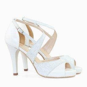 Sandale dama cu toc din piele naturala alb perlat Carmella
