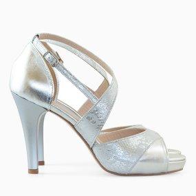 Sandale dama cu toc din piele naturala argintie Felicity