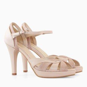 Sandale dama cu toc din piele naturala nude somon Amour