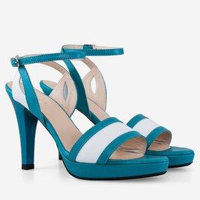 Sandale dama turcoaz din piele naturala