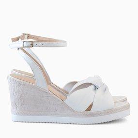 Sandale din piele naturala alba Keira