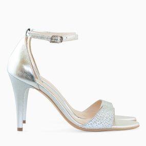 Sandale din piele naturala argintie Laura