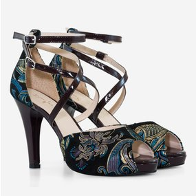 Sandale din piele naturala mov cu imprimeu Pearl