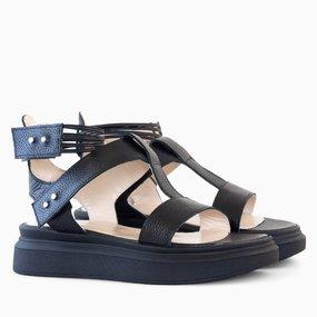 Sandale din piele naturala neagra Zola