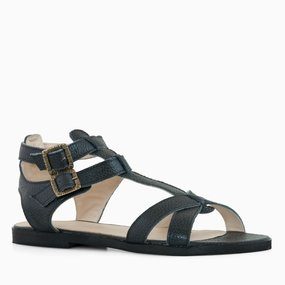 Sandale negre din piele naturala Alani