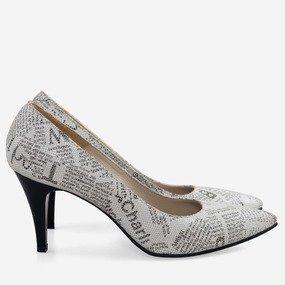 Pantofi dama Stiletto cu imprimeu ziar Jessica