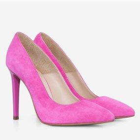Stiletto din piele intoarsa roz Winona
