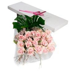 24 Rose Rosa in Scatola Regalo | Consegna Fiori Milano