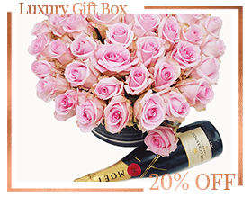 Pink Roses Box Moet Chandon Milan