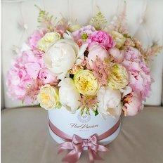 Scatola Floreale di Lusso Rose Garden Inglesi Peonie | Invio Fiori Online FlorPassion