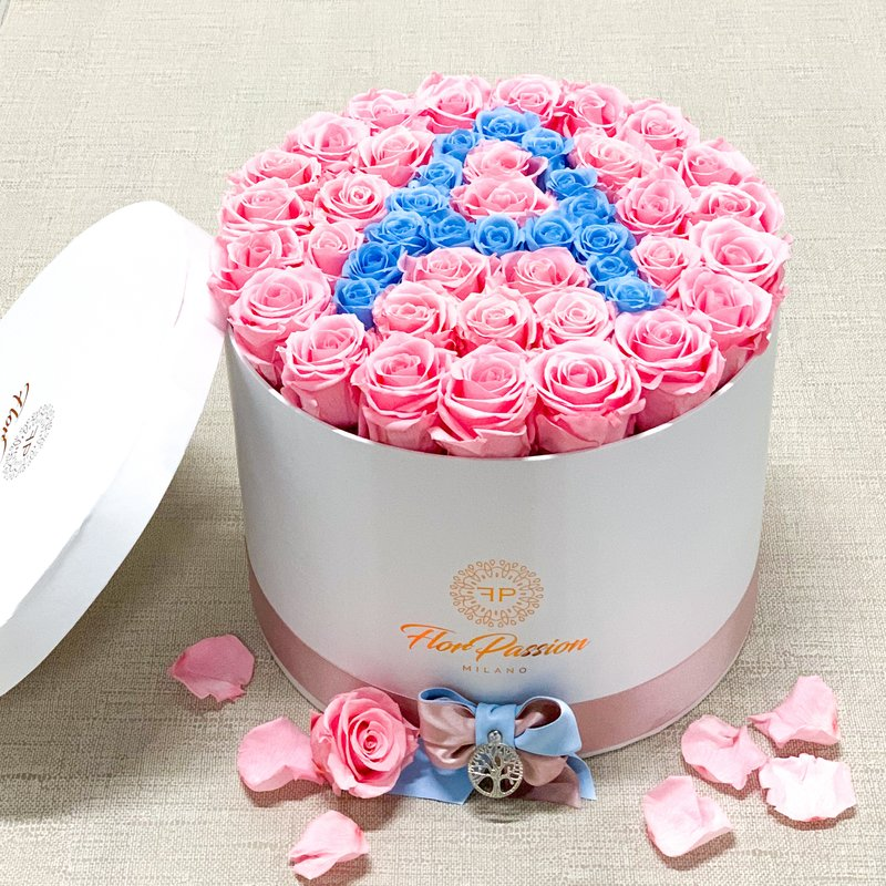 Gift for her Home decor Love Rosebox with macarons 100/% Real Pink Rose in Box Round Box with Pink Rose