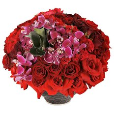 Red Roses and Orchids | Milan Flower Delivery