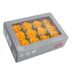 Yellow-Ochre Preserved Mini Roses, 12pcs