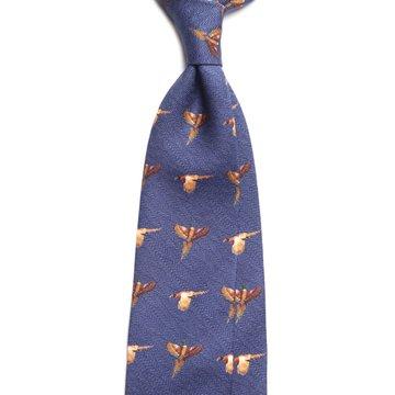 Hunting Challis Wool Tie - Navy