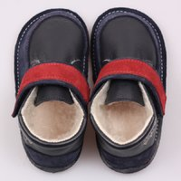 OUTLET - Barefoot wool boots - Red Navy
